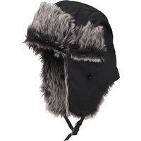 Kangaroo Poo Mens Faux Fur Lined Trapper Hat Black