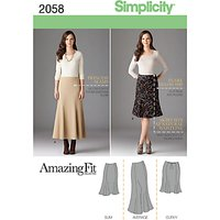 Simplicity Amazing Fit Womens' Skirts Sewing Pattern, 2058
