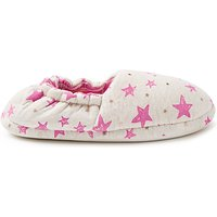 John Lewis & Partners Children's Star Slippers, Pink/Grey