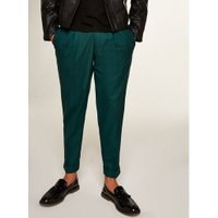 Mens Green Teal Tapered Smart Trousers, Green