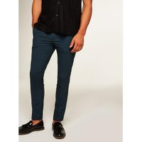 Mens Blue Cropped Smart Trousers, Blue