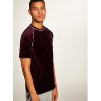 Mens Red Burgundy Velour T-Shirt, Red