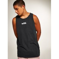Mens Washed Black 'Wild' Print Vest, BLACK