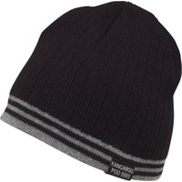Kangaroo Poo Mens Knitted Striped Edge Beanie Hat Black