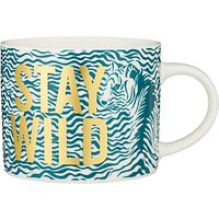 John Lewis & Partners Stay Wild Tiger Print Mug, Green/Gold, 350ml