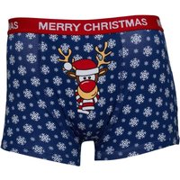 Fluid Mens Novelty Reindeer Trunks Navy Multi