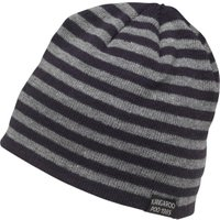 Kangaroo Poo Mens Knitted Striped Beanie Hat Navy/Grey Marl