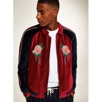 Mens Red Faux Suede Zip Through Jacket With Embroidery, Red