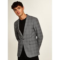 Mens Mid Grey Grey With Maroon Check Skinny Fit Blazer, Mid Grey