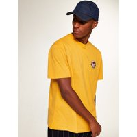 Mens Yellow Crest Embroidery T-Shirt, Yellow