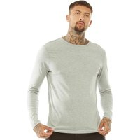Brave Soul Mens Prague Crew Neck Top Light Grey Marl