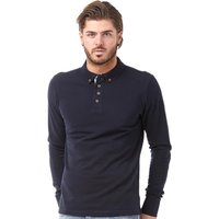 Brave Soul Mens Lincoln Long Sleeve Polo Dark Navy