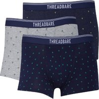 THREADBARE Mens Island Three Pack Boxer Trunks Grey Marl/Navy/Denim Marl