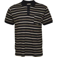 Kangaroo Poo Mens Yarn Dyed Striped Polo Navy/Grey