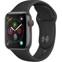 APPLE Watch Series 4 Cellular - Space Grey & Black Sports Band, 40 mm, Grey