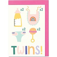 Raspberry Blossom Twins New Baby Card