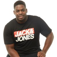 JACK AND JONES Originals Mens Plus Size Troll Crew Neck T-Shirt Black