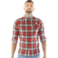 Brave Soul Mens Garfield Shirt Red Check