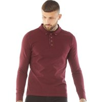 Brave Soul Mens Lincoln Long Sleeve Polo Burgundy
