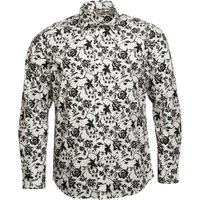 Fluid Mens Long Sleeve Shirt With All Over Print White