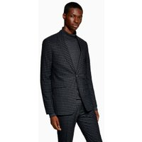 Mens Blue Green Gingham Check Skinny Blazer, Blue
