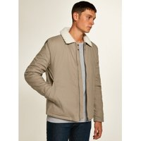 Mens Stone Borg Lined Coach Jacket, Stone