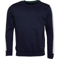 Brave Soul Mens Unite Contrast Stripe Crew Neck Sweatshirt Rich Blue/Optic White/Jade Green