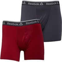 Reebok Mens Jared Performance Two Pack Medium Trunks Ash Grey/Cranberry Red