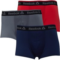 Reebok Mens Corben Performance Three Pack Short Trunks Primal Red/Alloy/Collegiate Navy