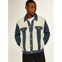 Mens Blue Mid Wash Cut And Sew Borg Denim Jacket, Blue