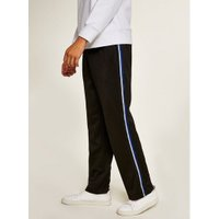 Mens Black Poly Tricot Side Taping Joggers, Black