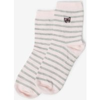 Womens Trees For Cities Pink Embroidered Butterfly Socks- Pink, Pink