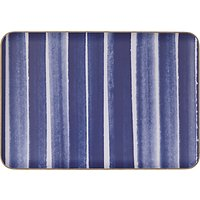 John Lewis & Partners Coastal Large Painted Striped Wood Tray, L39cm, Blue