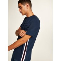 Mens Navy Ottoman Taping T-Shirt, Navy