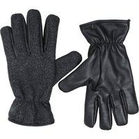 French Connection Mens Leather And Woollen Gloves Black/Grey Melange