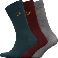 FARAH Mens Benkwith Three Pack Socks Charcoal Marl/Vermillion Marl/Pine Marl