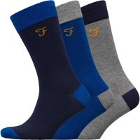 FARAH Mens Cason Three Pack Socks Yale/True Blue/Charcoal Marl