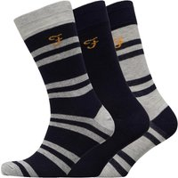 FARAH Mens Falton Three Pack Socks Yale/Light Grey Melange/Yale