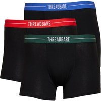 THREADBARE Mens Contrast Three Pack Boxer Trunks Black/Blue/Green/Red
