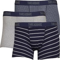 THREADBARE Mens Liquorice Three Pack Boxer Trunks Navy/Grey/Grey Marl/Navy/White