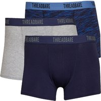 THREADBARE Mens Basic Three Pack Boxer Trunks Grey Marl/Navy Grindle/Navy