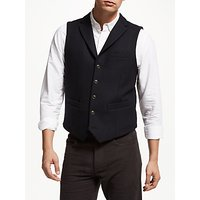 John Lewis & Partners Textured Wool Blend Waistcoat, Navy
