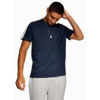 Mens Navy Velour Taping T-Shirt, Navy