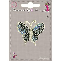 La Stphanoise Butterfly Iron On Patch, Silver