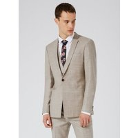 Mens Stone Crosshatch Wool Skinny Fit Suit Jacket, Stone