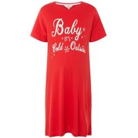 Womens **Maternity Red 'Baby Its Cold' T-Shirt Dress- Red, Red