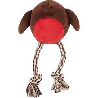 Fred & Ginger Christmas Robin Rope Ball Dog Toy, Brown/Red