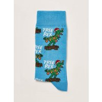 Mens Christmas Blue Tree Rex Socks, Blue
