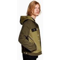 Mens Green Hooded Denim Jacket, Green