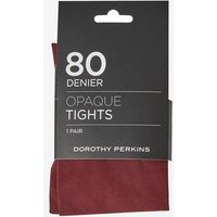 Womens Wine 1 Pack 80 Denier Tights- Red, Red
